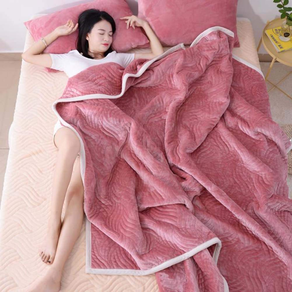 Area Rug Flannel Blanket Throw Single Double Three-Layer Thick nap Casual Blanket Winter Sheets Summer Towel Quilt Floor Mats (Color : Pink, Size : 180200CM)