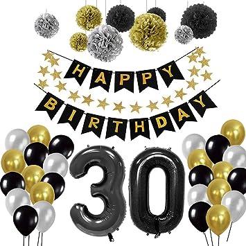 Yoart Birthday Decorations 30th Happy Banner 9 Tissue Paper Pom Poms Hanging Swirl