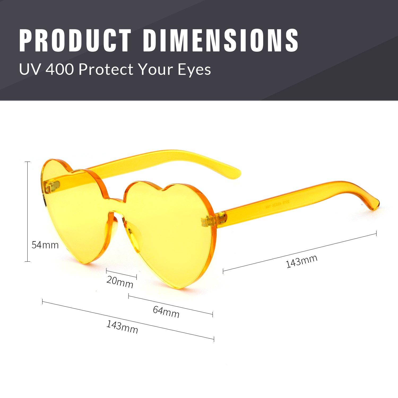 Love Heart Shape Sunglasses Women Rimless Frame Colorful SunGlasses by ADEWU (Image #2)