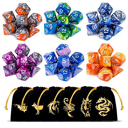 CiaraQ DND Dice Set, Polyhedral Dice Set, Dungeons and Dragons Dice Set for D&D Dice Games RPG MTG Table Games with Drawstring Pouch. Double-Color Dice, 6 Set 42 Pieces - Damage Dice