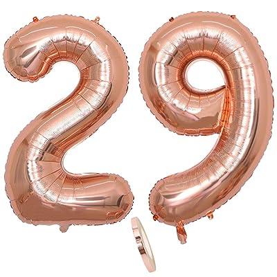 """2 Globos Número 29 Años, Number 29 Globo Chica de oro rosa, 40""""Figuras de globos con globo de lámina de helio inflable, Globo gigante para la decoración de la fiesta de cumpleaños, Prom (xxxl 100cm): Juguetes y juegos"""