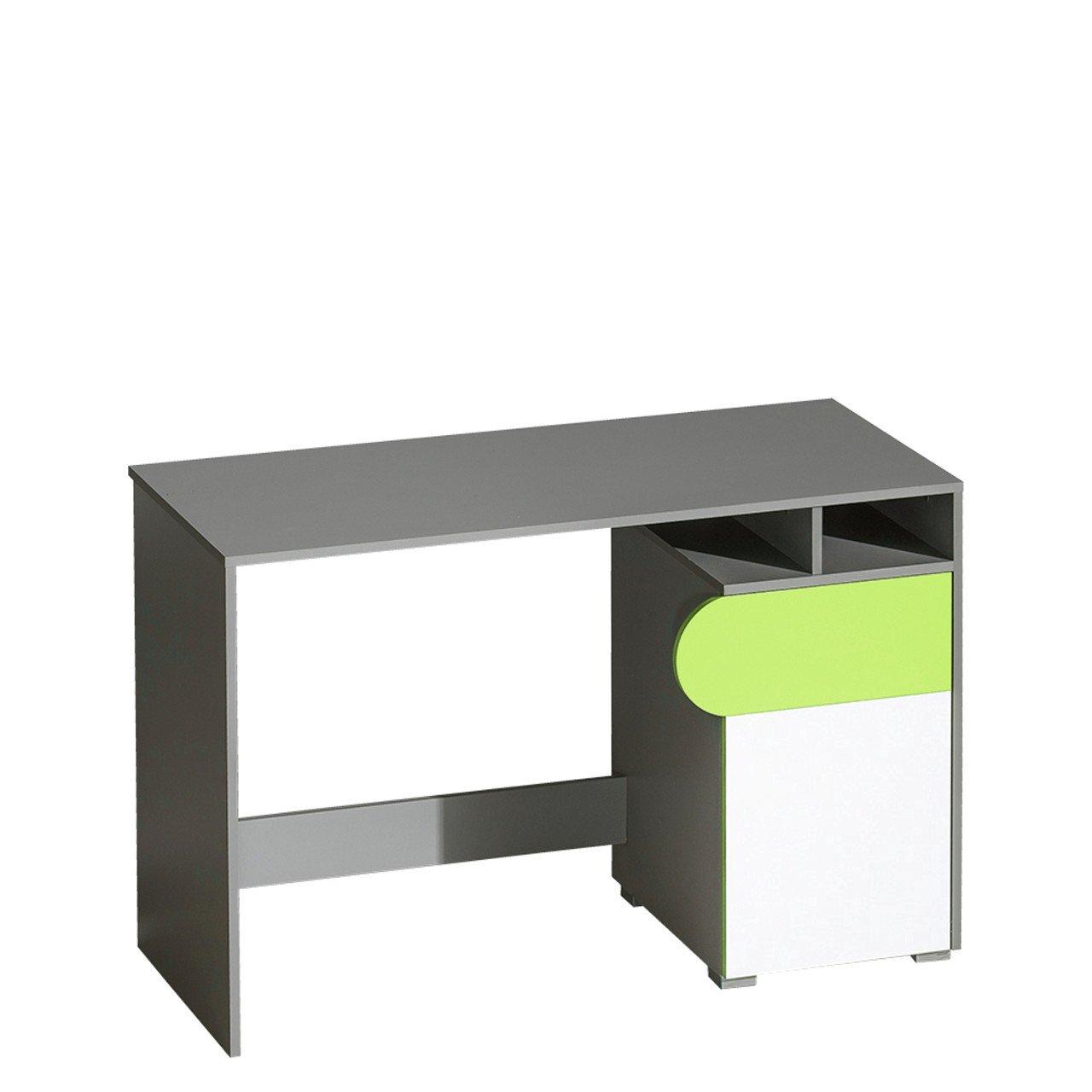 Graphit   Weiãÿ+ Grün Mamba Mirjan24  Schreibtisch Futuro F08, Schülerschreibtisch, Arbeitstisch, Computertisch, Kinderschreibtisch, PC-Tisch für Jugendzimmer, Kinderzimmer (Graphit Weiß + Grün Mamba)