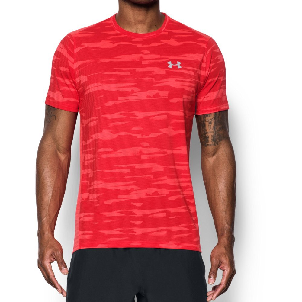 Under Armour Men's Threadborne Run Mesh Shorts Sleeve,Marathon Red /Reflective, Medium by Under Armour (Image #1)