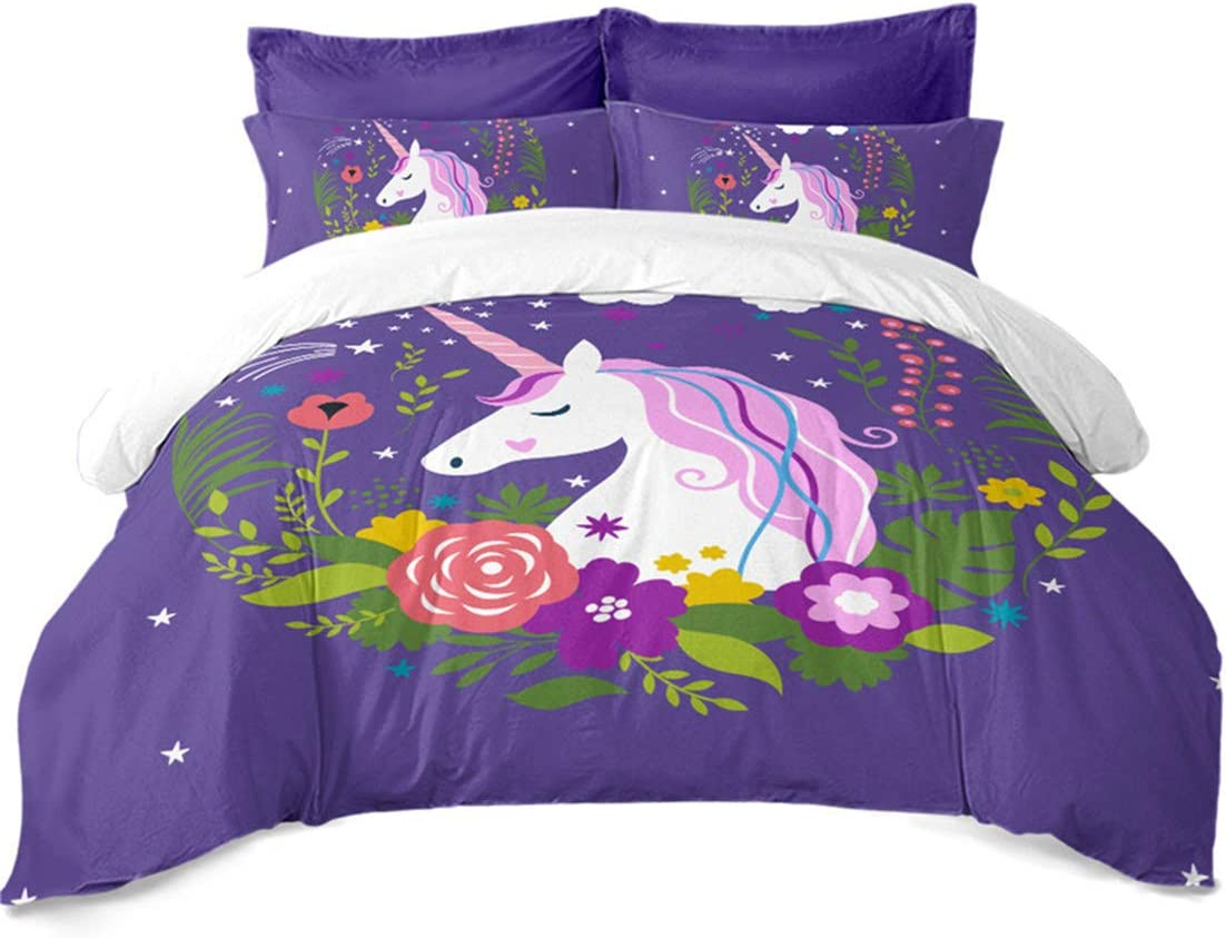 JARSON Girls Princess Unicorn Bedding Set Plant Floral Printed Duvet Cover Set Purple Cartoon Bedding Twin Size