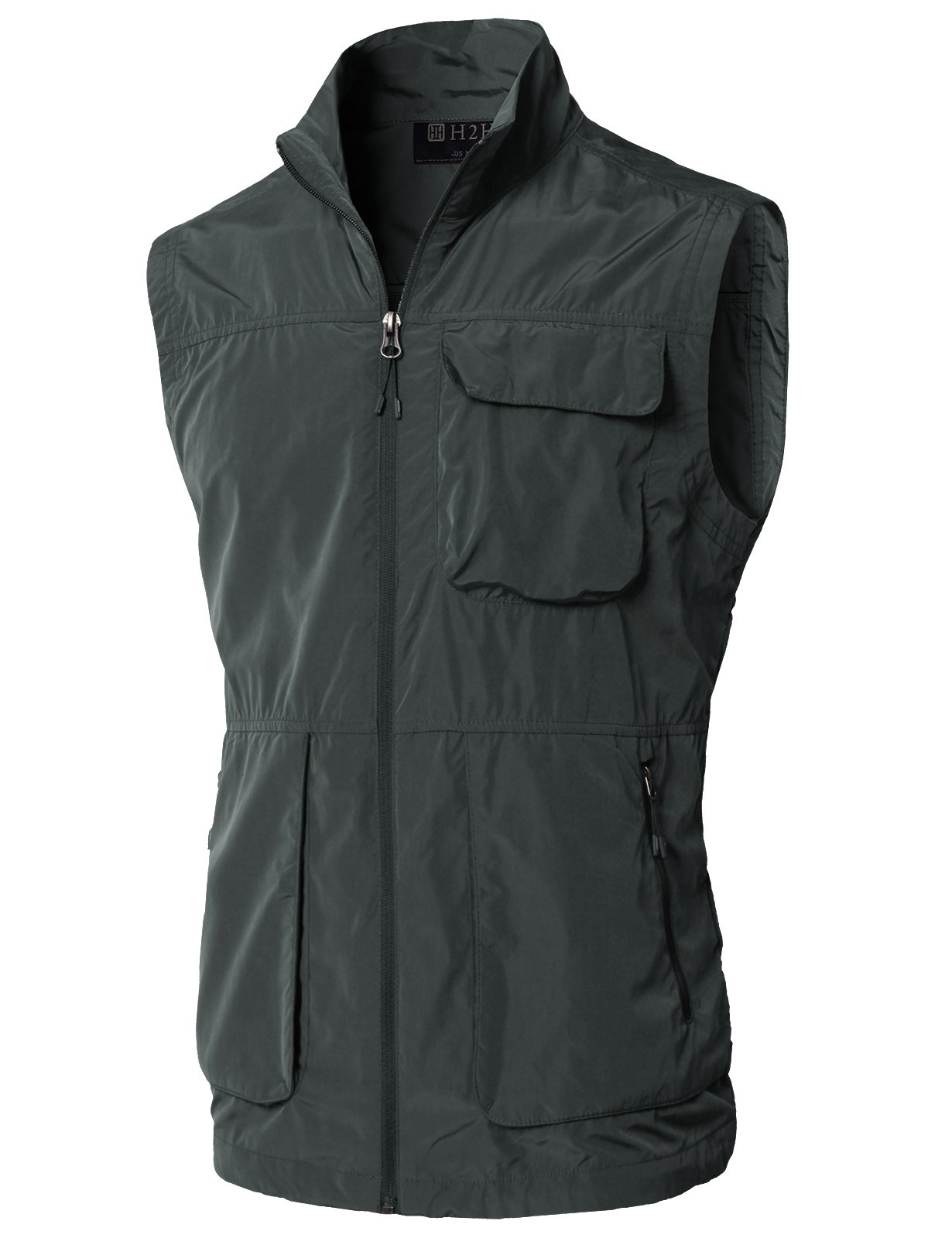 H2H Men's 100% Cotton Outdoor Multi Pocket Vest Darkgray US S/Asia M (KMOV0157)