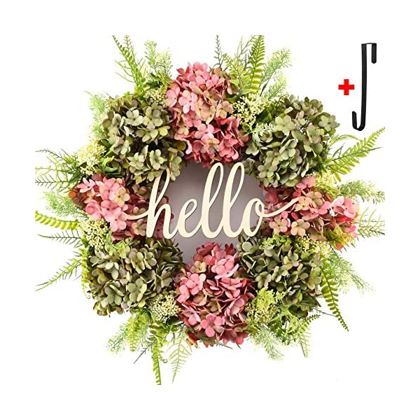 Summer Wreaths for Front Door Spring,Handmade Hello Outdoor Wreath for Front Door Welcome,Fall Winter Hydrangea Wreaths for Front Door Farmhouse,Outside Door Wreaths,Grapevine Wreaths for Front Door