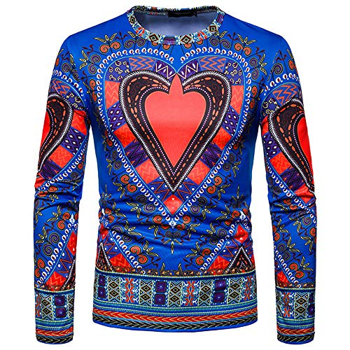 Toimothcn Men's Dashiki Tops African Ethnic Print Shirt Long Sleeve O-Neck Sweatshirt Pullover Top Blouse(Blue,S) - Gabardine Western Shirt