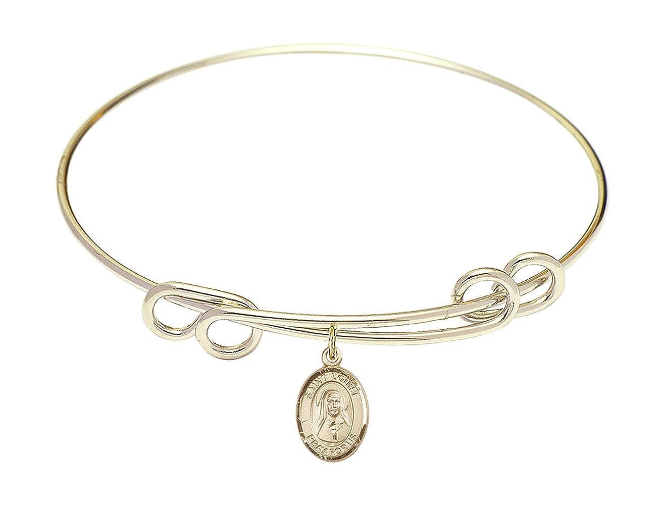 DiamondJewelryNY Double Loop Bangle Bracelet with a St Louise de Marillac Charm.
