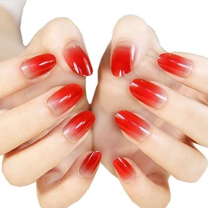 Elegante Gradiente Nail Arte Francés Estilo pre-diseñadas uñas postizas, China, color rojo