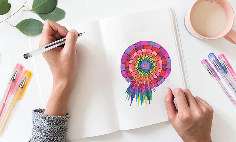 libros de colorear los marcadores de arte 80 colores plumas de gel PLUS 80 recargas 220/% pluma de la tinta del gel para adultos Shuttle Art 160 colores Glitter Gel Pens set