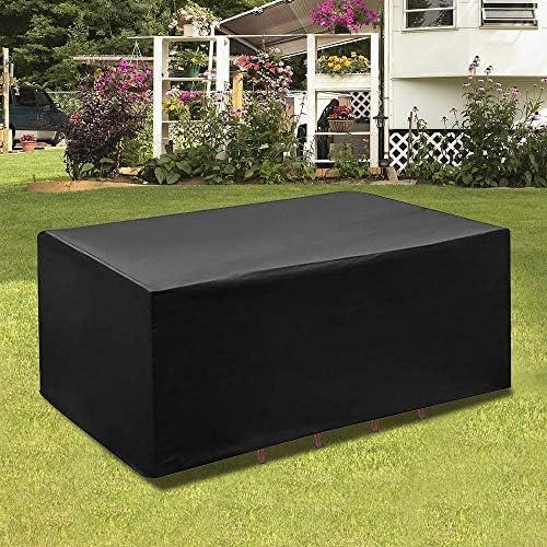 GNEGNI Cubierta de Muebles de Jardín, Impermeable Resistente al Polvo Anti-UV Protección Exterior Muebles de Jardín Cubiertas de Mesa y Silla Negro 213 * 132 * 74cm: Amazon.es: Jardín