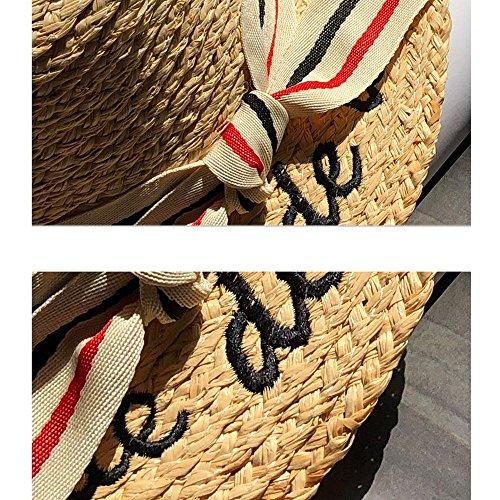 Sombreros Chunlan Sra. Bordado de Letra Copa Plana pequeño Paja Plegable  Vacaciones de Verano Mar Playa de Hierba Rafi Sol  Amazon.es  Hogar 6116f206442