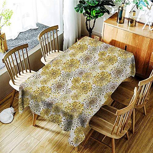 Modern Berries Bedding - XXANS Fashions Rectangular Table Cloth,Floral,Cute Artistic Blossoms Petals Modern Dots Abstract Bedding Plants Gardening,High-end Durable Creative Home,W60x84L Khaki Brown White
