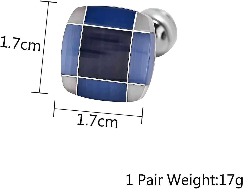 Aooaz Mens Stainless Steel Cufflinks Square Lattice Scolor White Blue Cufflinks 1.7X1.7CM Dad Unique Jewelry Box Fancy Charm