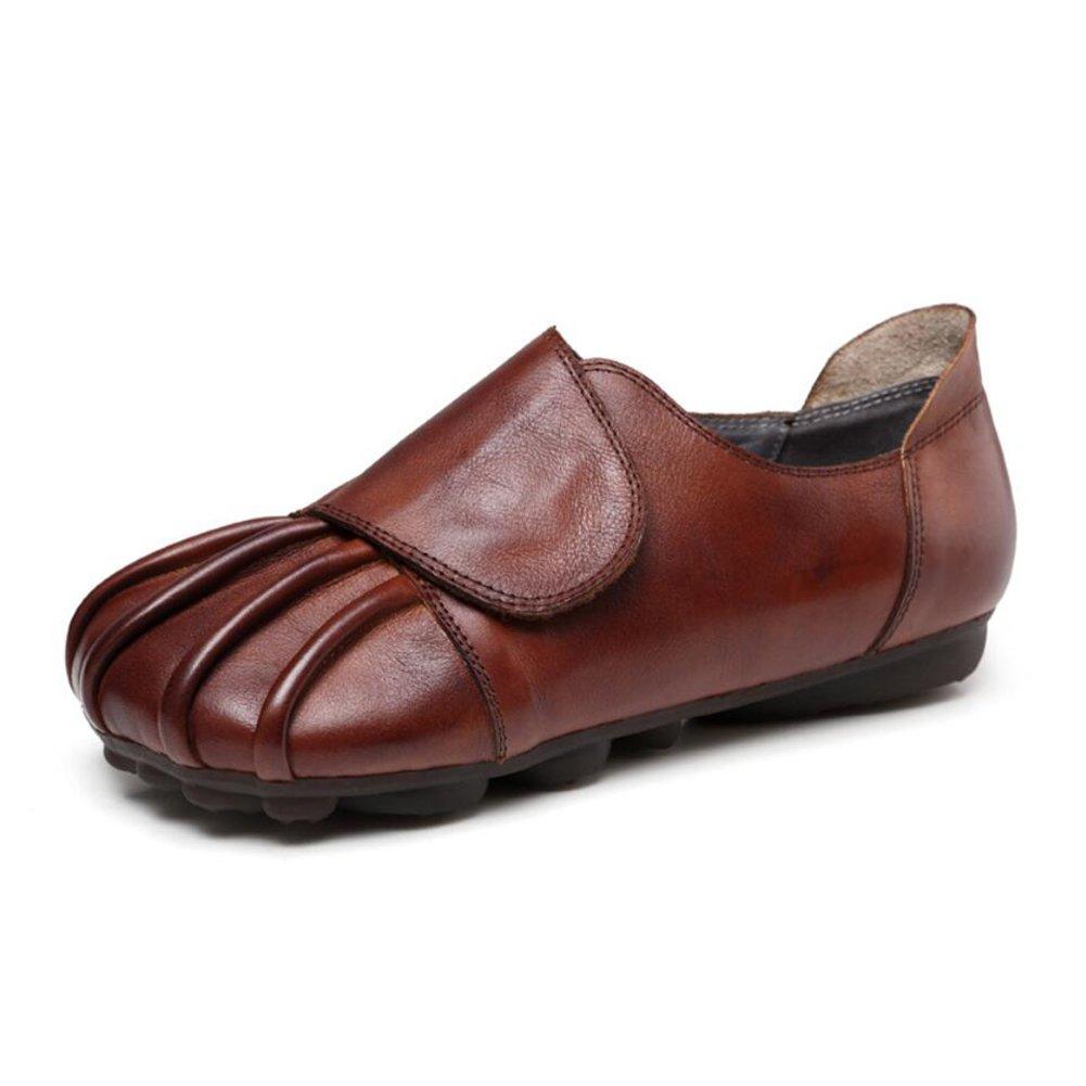 XUE Damenschuhe Leder Frühjahr/Herbst Loafers Velcro Schuhe nationalen Stil Fahr Fahr Stil Schuhe Wanderschuhe Office Party & Abend atmungsaktiv (Farbe : B, Größe : 38) 507f4b