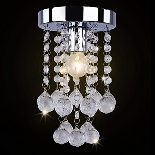Dixun Modern Mini Chandelier Crystal Chandelier Lighting Flush Mount Ceiling Light Fixture Chandelier Light for Hallway Passway Bedroom Living Room Bathroom Silver