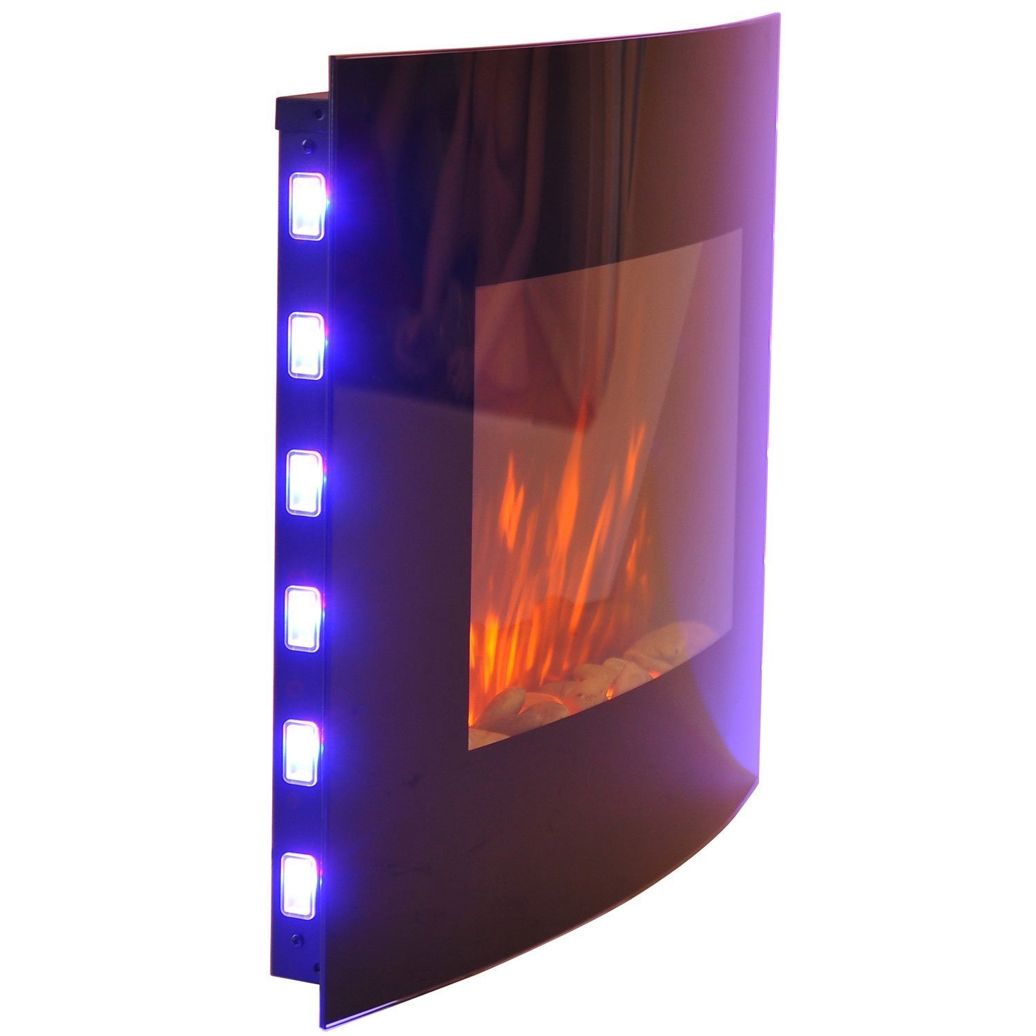 homcom large led curved glass electric wall mounted fire place