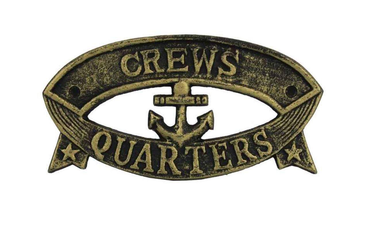 Hampton Nautical Cast Iron Crews Quarters Sign Metal Wall Plaque, 9'', Antique Gold