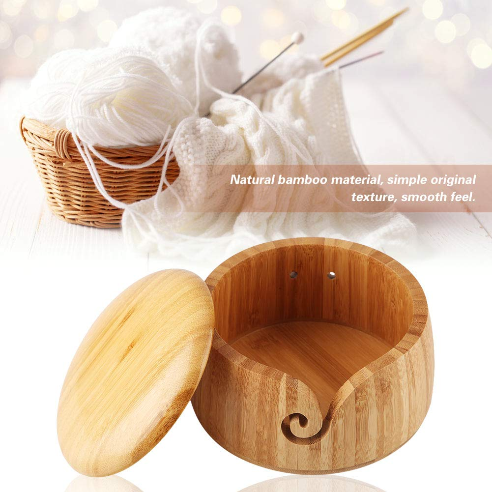 ZJchao Yarn Bowl Natural Handmade Crafted Wooden Yarn Bowl with Removable Lid for Knitting and Crocheting for Mom and Grandmother
