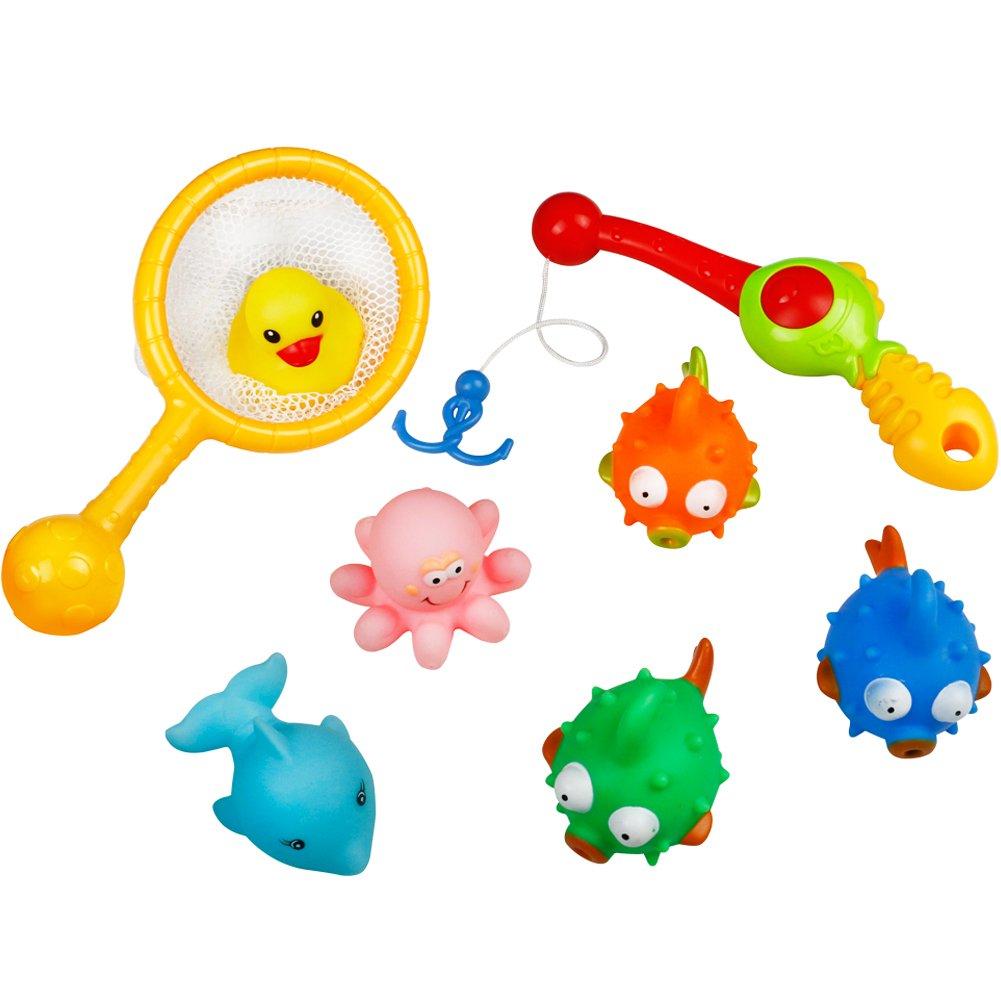 TONZE Bath Toys Fishing Game Bathtub Toys Floating Bath Toy Net Fishing Rod Bathtime toys Funny Game Kids, 18 Months+