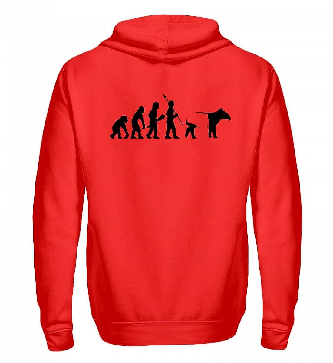 Shirtee Evolution vom Affen zum Tapir - EIN Muss für alle Freunde Dieses Besonderen Tiers, des Tapirs - Zip-Hoodie