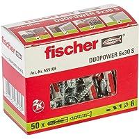 fischer DUOPOWER 6 x 30 S, universele pluggen met veiligheidsschroef, 2-componenten pluggen, kunststof pluggen voor…