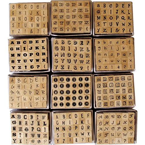 30 Mini Wooden Mounted Alphabet Rubber Stamps inc Punctuation by Dovecraft by Dovecraft