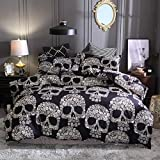 ZHH Skull Bohemian Duvet Cover Set 3D Microfiber Floral and Skeleton Bedding Set for Kids 3PC King Size