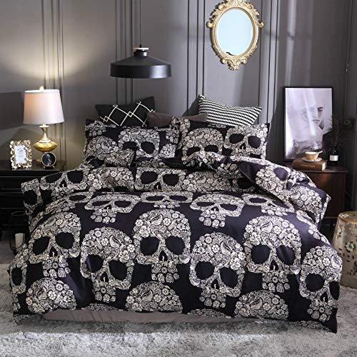 ZHH Skull Bedding Set Black and White Floral Skull Skeleton Microfiber Full Size Duvet Cover Set 3 Piece (Queen) (Bedding And White Black Skull)