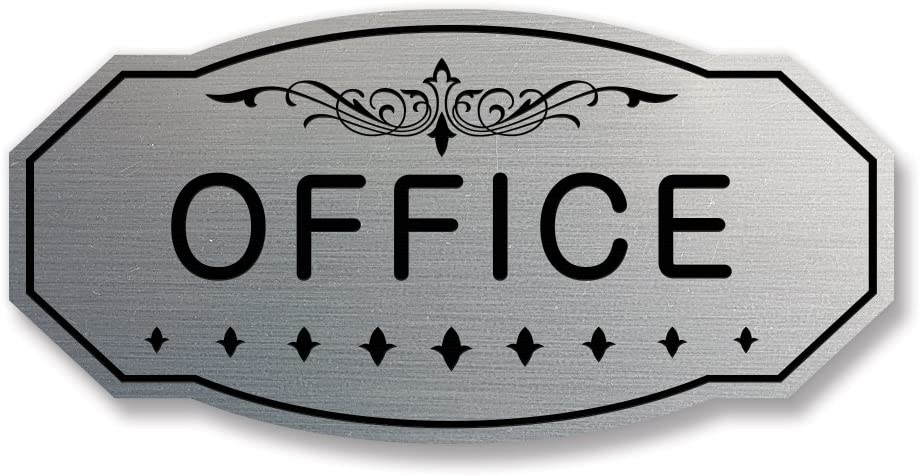 "Office Victorian Door/Wall Sign (Brushed Silver) Small 3"" x 6"""