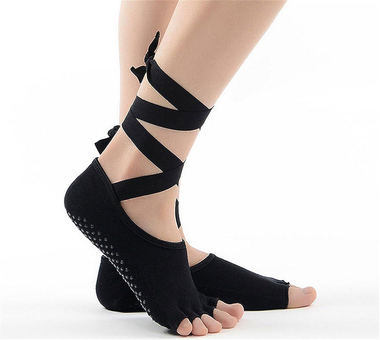 Nynelsong Yoga Socks Skid Toeless Grip Socks with Silk Ribbon for Women /& Girl Black