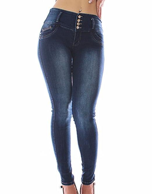 FARINA®1329 Pantalon Vaquero de Mujer, Push up/Levanta Cola, Pantalones Elasticos Colombian,Color Azul,Talla 34-48/XS-3XL (34-36/EU-6, Azul)