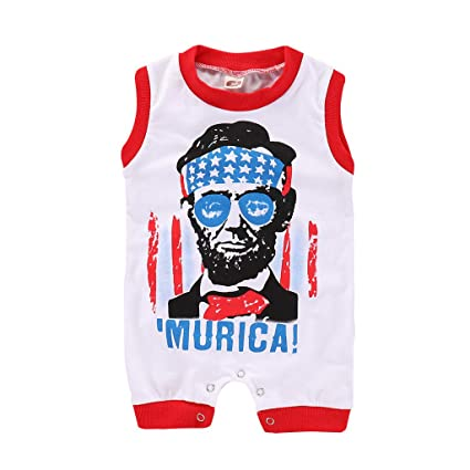 15d201ec44 ❤Ywoow❤ Summer Baby Romper, Girls Boys 4th of July Stars Letter Printed  Romper Infant Baby Jumpsuit Outfits