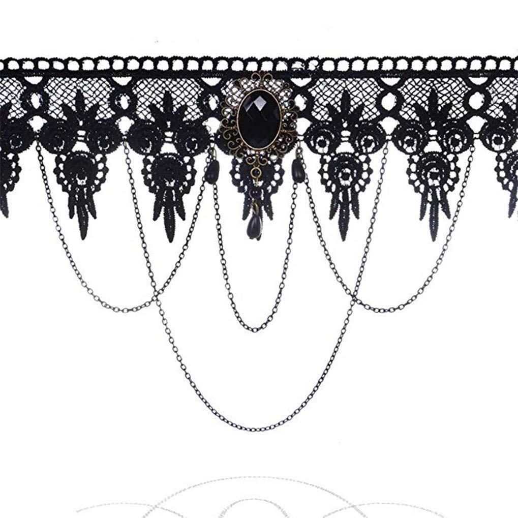Timesuper Punk Party Jewelry Accessories Gothic Vintage Black Lace Chocker Beads Chain Necklace for Women