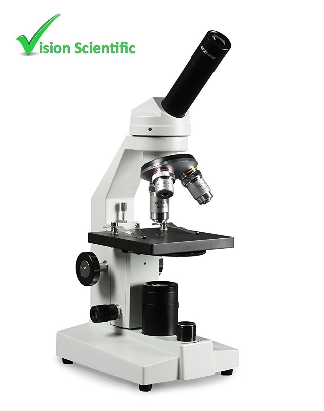 Vision Scientific VME0020-E2 Student LED Microscope, 10x WF and 20x WF Eyepiece, 40x–800x Magnification, LED Illumination with light intensity control, Coarse and Fine Focus