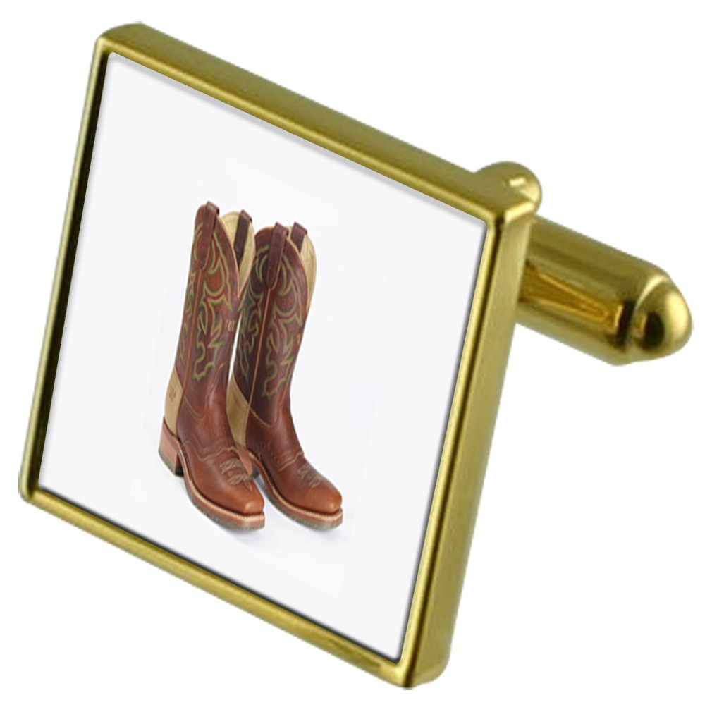 Cowboy Boots Gold-tone Cufflinks in pouch