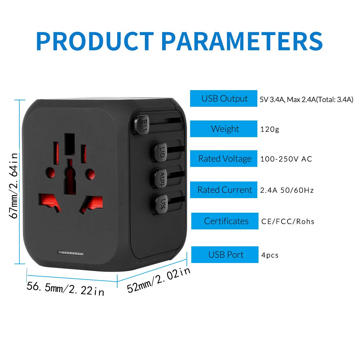 with 4 USB Charging Ports Universal European Power Wall Charger Plug Converter for Phone Tablet Laptop in Italy India Austria 170 Countries International Travel Plug//Outlet Adapter-Europe USA UK AU