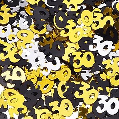 Shappy Confeti Brillante de Número 30 para Trigésimo Cumpleaños Fiesta de Aniversario Decoración de Mesa, 1,76 Onzas (Dorado Negro y Plateado)