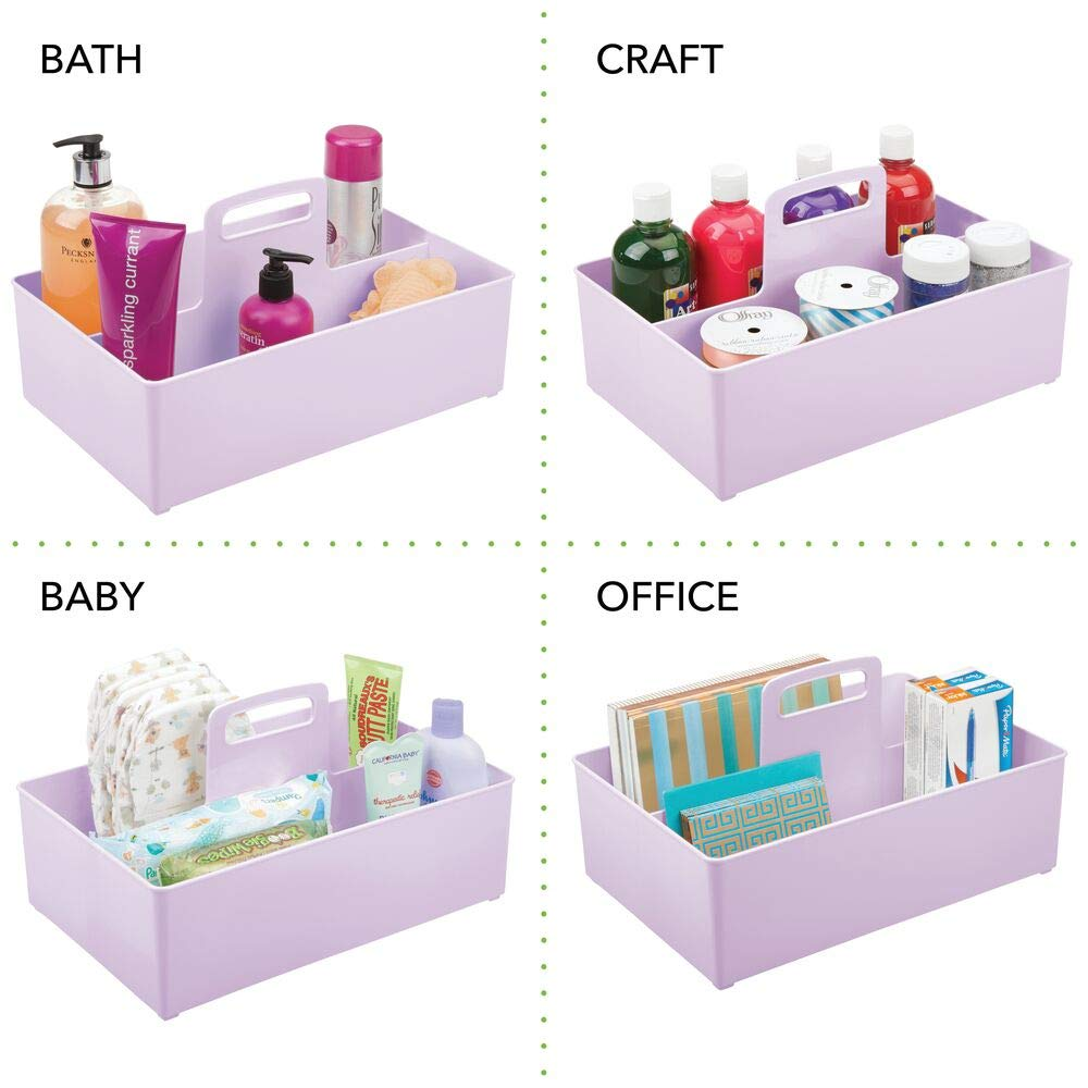 Pr/áctica Caja con asa y 2 Compartimentos sin Tapa pa/ñales Lila Claro Peluches y m/ás en pl/ástico sin BPA mDesign Cesta organizadora Extragrande para Cuarto de beb/é Organizador de Juguetes