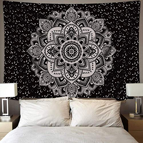 BLEUM CADE Mandala Tapestry Wall Hanging Black & White Wall Art Floral Decorative for Bedroom Living Room 59x83 Inches