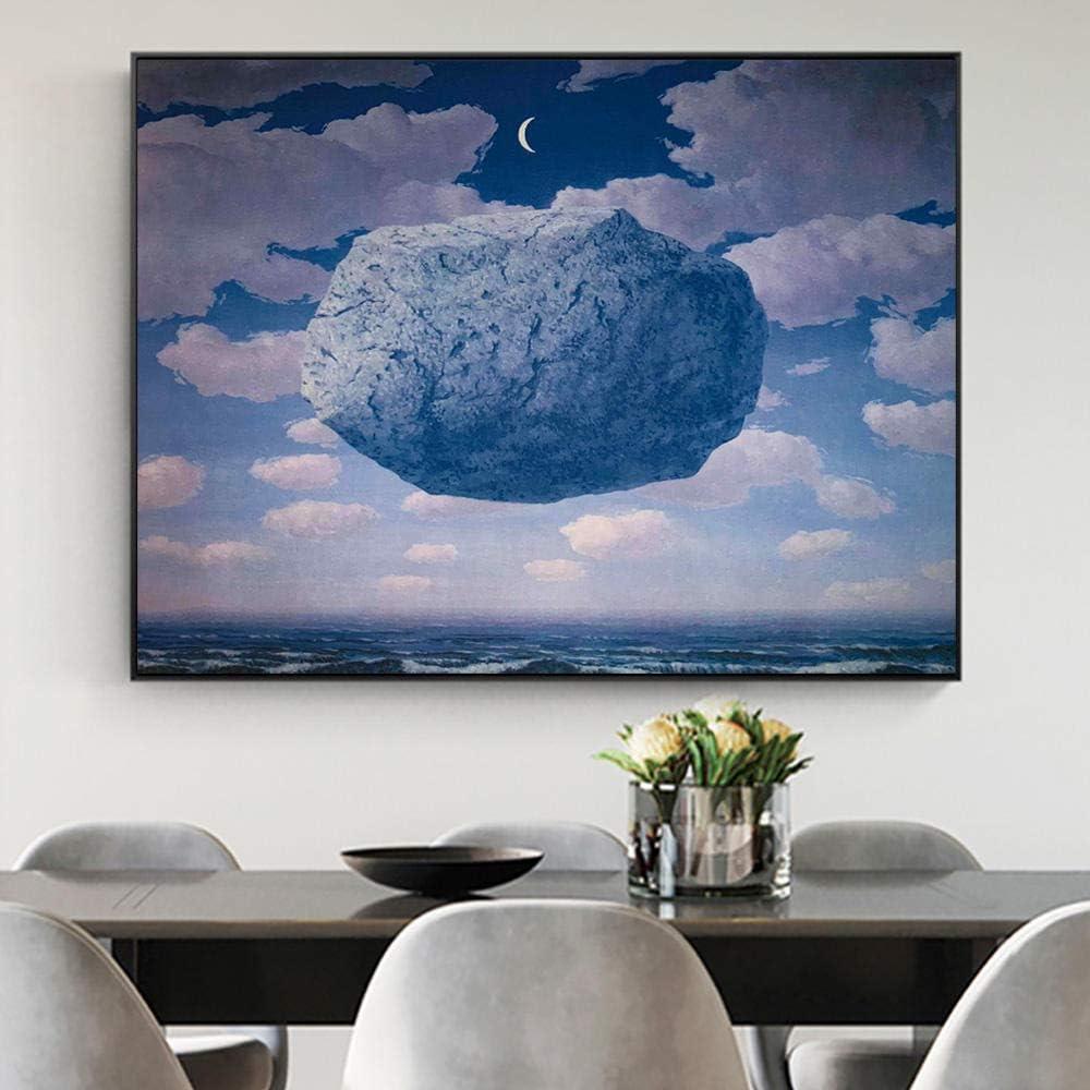 Amazon 空の夜のシュルレアリスムのポスターとプリントのルネ マグリット ブルー ストーンキャンバスの壁の芸術の抽象的な絵の部屋の装飾 60x80cm 23 6x31 5インチ フレームなし アートフレーム ポスター オンライン通販