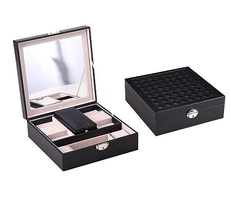 Amazoncom NEOTEND Black Leather Jewelry Box Storage Organizer with