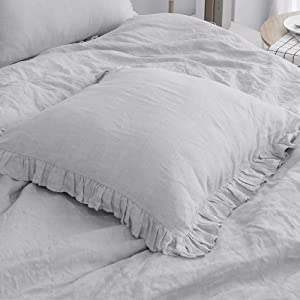 Simple&Opulence 100% Linen Stone Washed Euro Sham with Ruffle 26x26 Inch Pillow Cover Set of 2, Home Decoration Pillow, Soft and Breathable, Light Grey