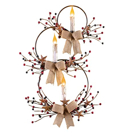Amazon.com: Primitive Circle Wire Metal Wall Art with LED Candles ...