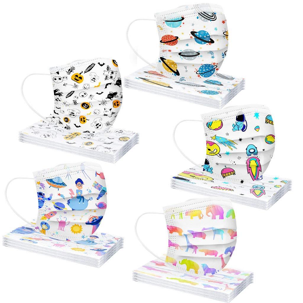 Earleye0 50 Piezas Niños Protección Desechable para Impresión linda 3 Capas Transpirables con Elástico para Los Oídos (Mezcla de colores)