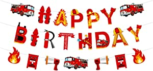 Fire Truck Happy Birthday Party Supplies Decoration Banner for Kids Birthday Party Baby Shower Decor