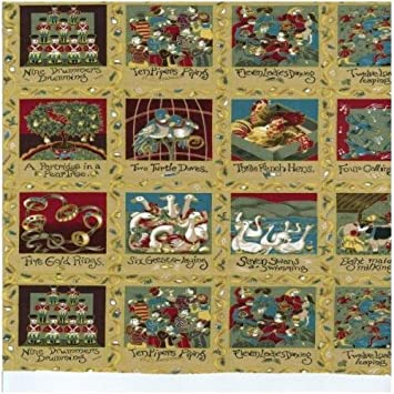 12 Days Of Christmas Holiday Panels 100 Cotton Quilting Fabric