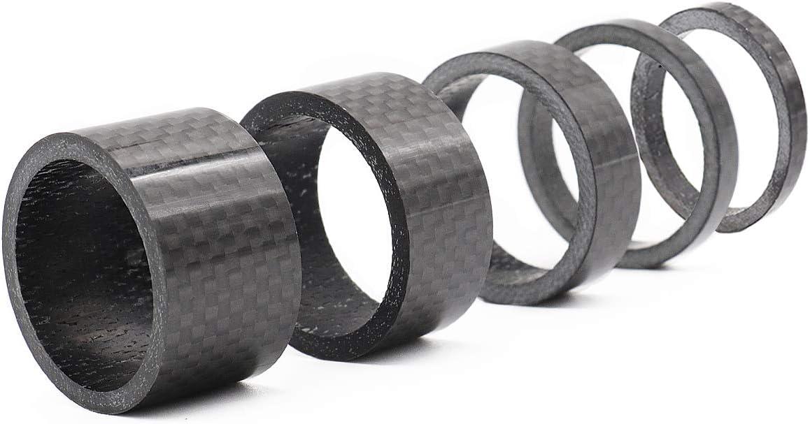 GKONGU Auriculares Espaciadores, 4 Piezas Fibra de Carbono Completa 3/5/10/15 / 20mm Bicicleta Espaciador para Bicicleta de Carbono 1 1/8