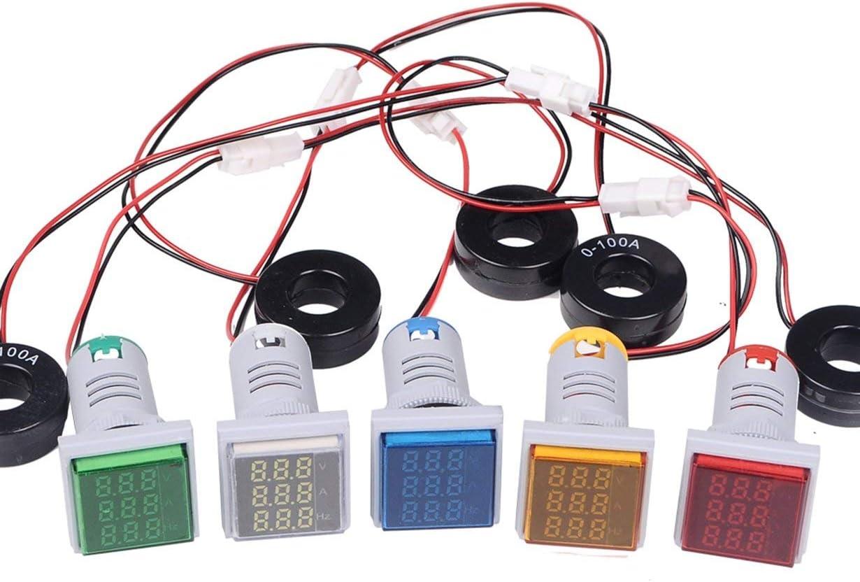 SINOTIMER ST17VAH Indicateur 22mm LED Carr/é Tension Num/érique Courant Fr/équencem/ètre Feux de signalisation Combo Meter Tester Vert