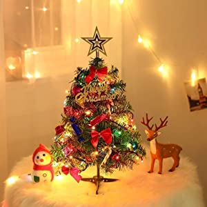 FCIQVEN Tabletop Christmas Tree, 20''/50cm Artificial Miniature Pine Christmas Tree with LED String Lights & Ornaments for Xmas Indoor Decor